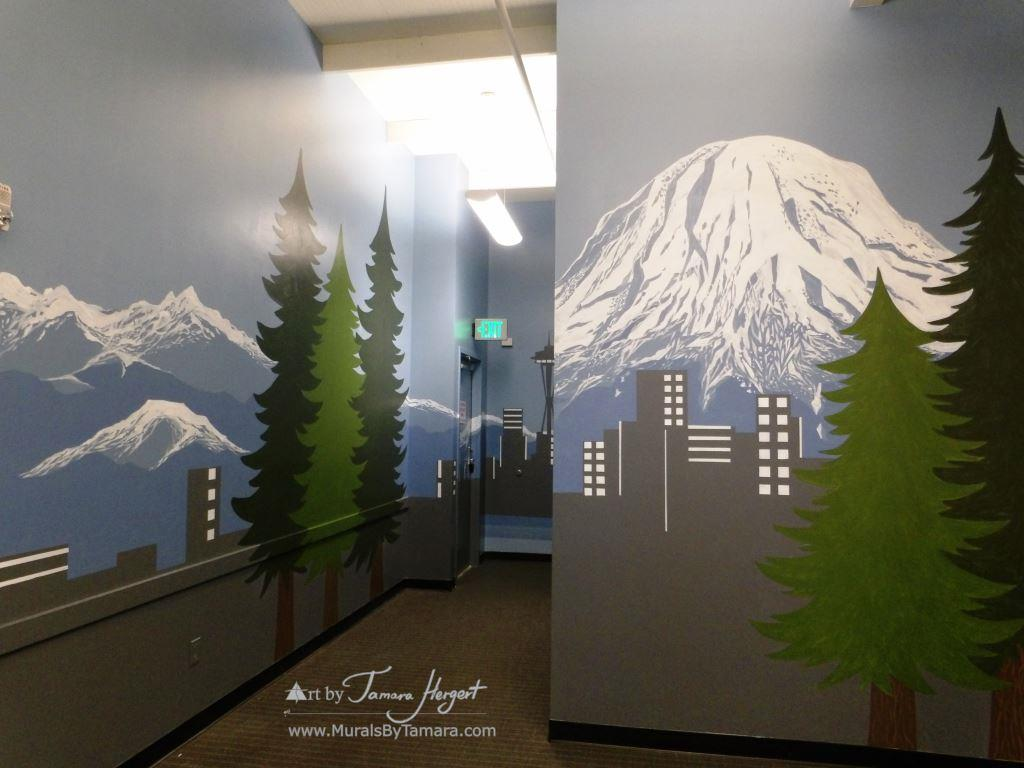 Seattle skyline - Mount Rainier 4 - Bel-Red Auto license - mural by Tamara Hergert