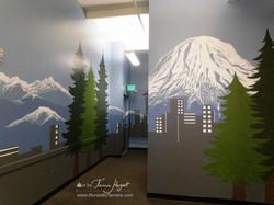 Seattle skyline - Mount Rainier 4 - Bel-Red Auto license - mural by Tamara Hergert
