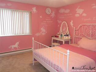 Girl's pink princess room with fairies, unicorns, and animal-shaped clouds mural by Tamara Hergert - mural artist seattle