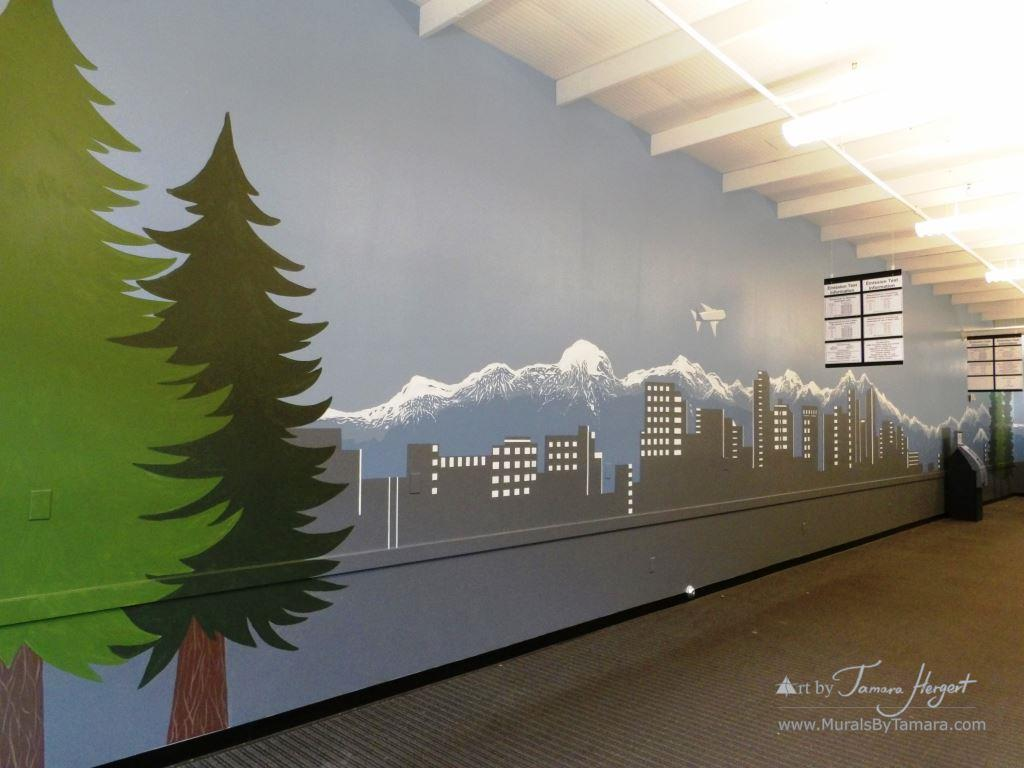 Evergreen trees and Bellevue skyline 6- Bel-Red Auto license - mural by Tamara Hergert
