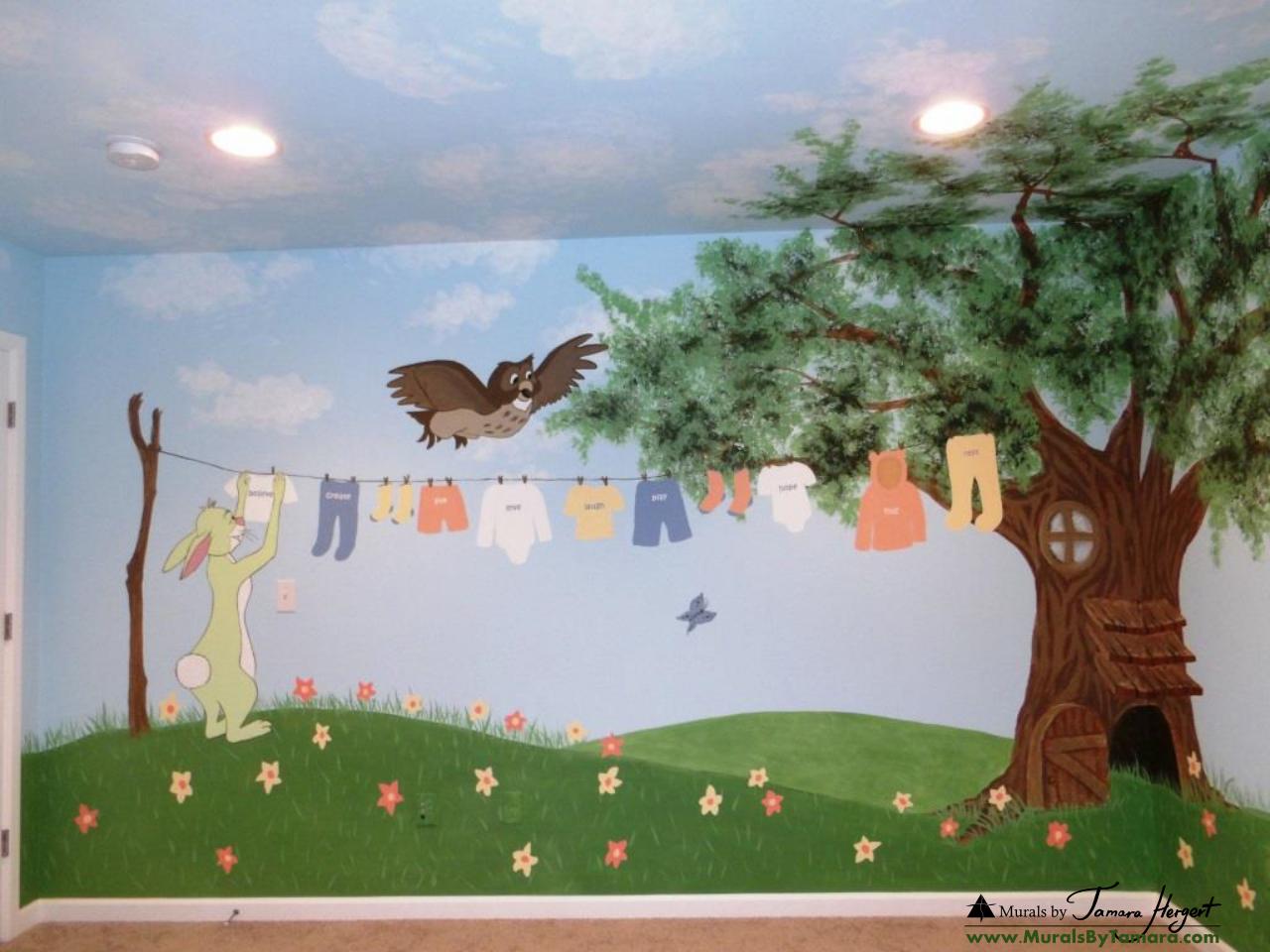 Winnie the Pooh mural left wall - kids room mural by Tamara Hergert