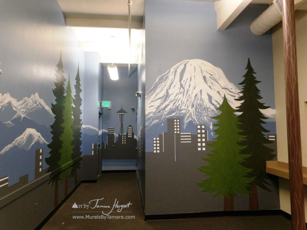 Seattle skyline - Mount Rainier 3 - Bel-Red Auto license - mural by Tamara Hergert