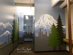 Seattle skyline - Mount Rainier 3 - Bel-Red Auto license - mural by Tamara Hergert