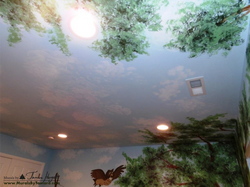 Winnie the Pooh mural clouds on the ceiling with tree tops - kids room mural by Tamara Hergert