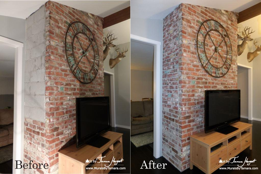 Before and After photo - Faux bricks mural by Tamara Hergert