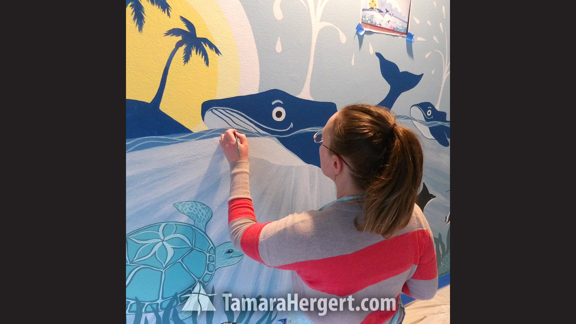 Whales mural by Tamara Hergert 2
