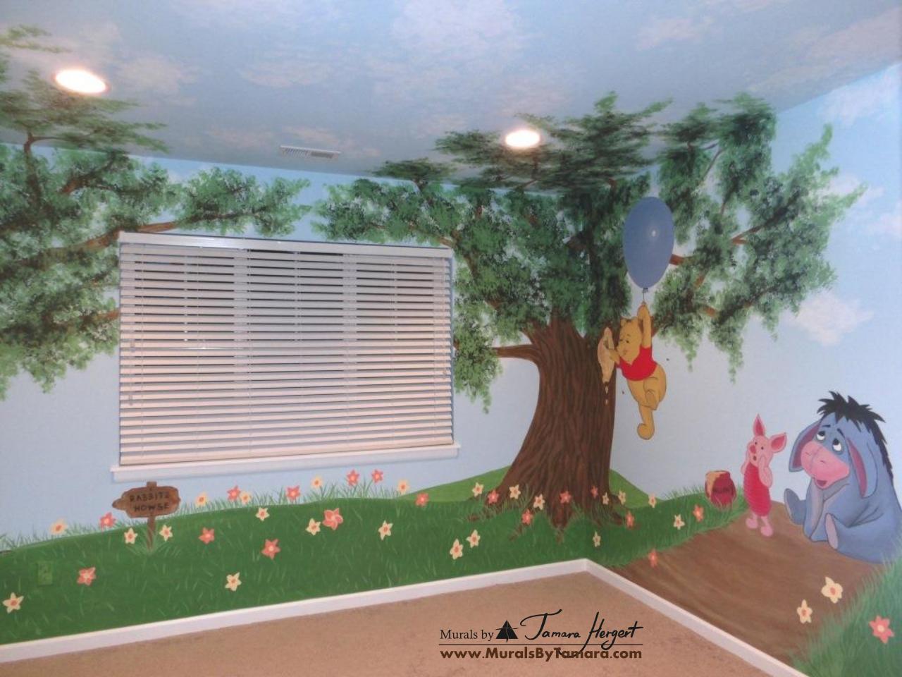 Winnie the Pooh mural front view - kids room mural by Tamara Hergert