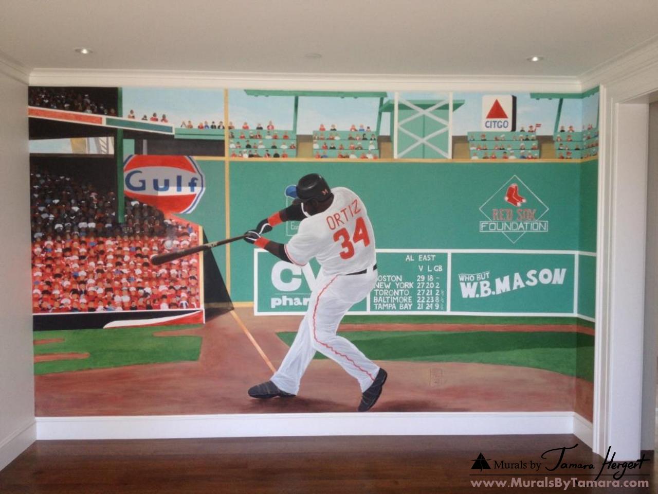 Fenway park Green monster wall with David Ortiz Red Sox - kids room mural by Tamara Hergert