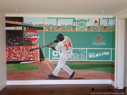 Fenway park Green monster wall with David Ortiz Red Sox - kids room mural by Tamara Hergert