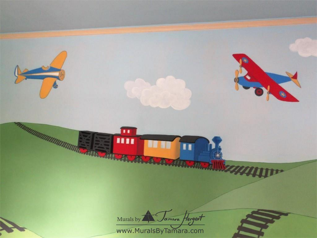 Train and train tracks - Airplanes - Olden toy style - mural by Tamara Hergert - close-up view