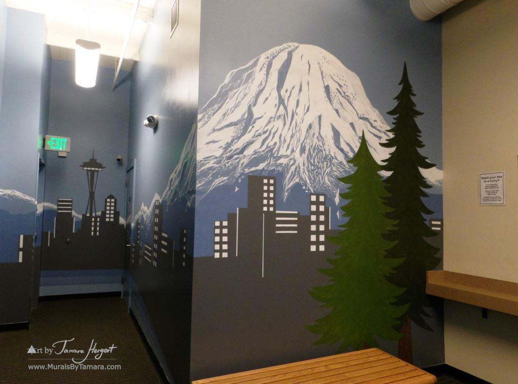 Seattle skyline - Mount Rainier - Bel-Red Auto license - mural by Tamara Hergert