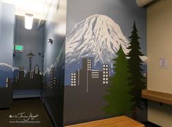 Seattle skyline - Mount Rainier - Bel-Red Auto license - mural by Tamara Hergert