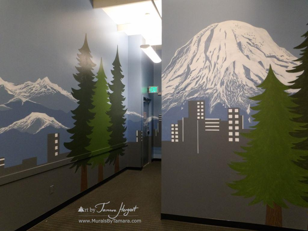 Seattle skyline - Mount Rainier 12 - Bel-Red Auto license - mural by Tamara Hergert