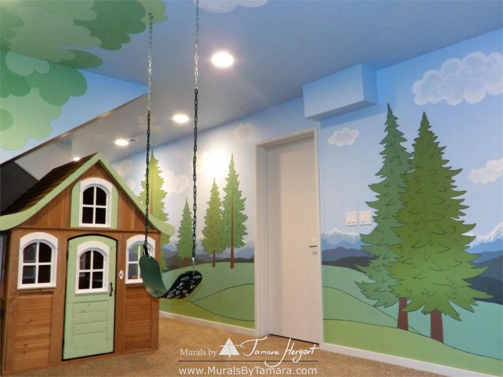 Cascade mountains - Tree in the corner - mural by Tamara Hergert - playhouse view