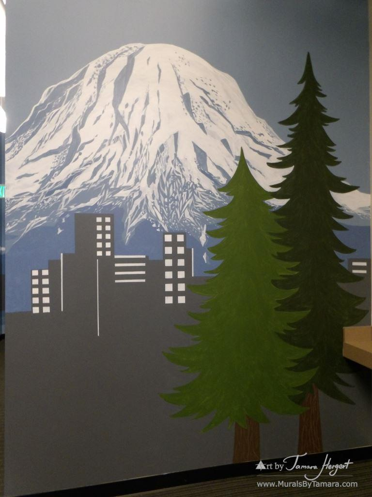 Mount Rainier - Bel-Red Auto license - mural by Tamara Hergert