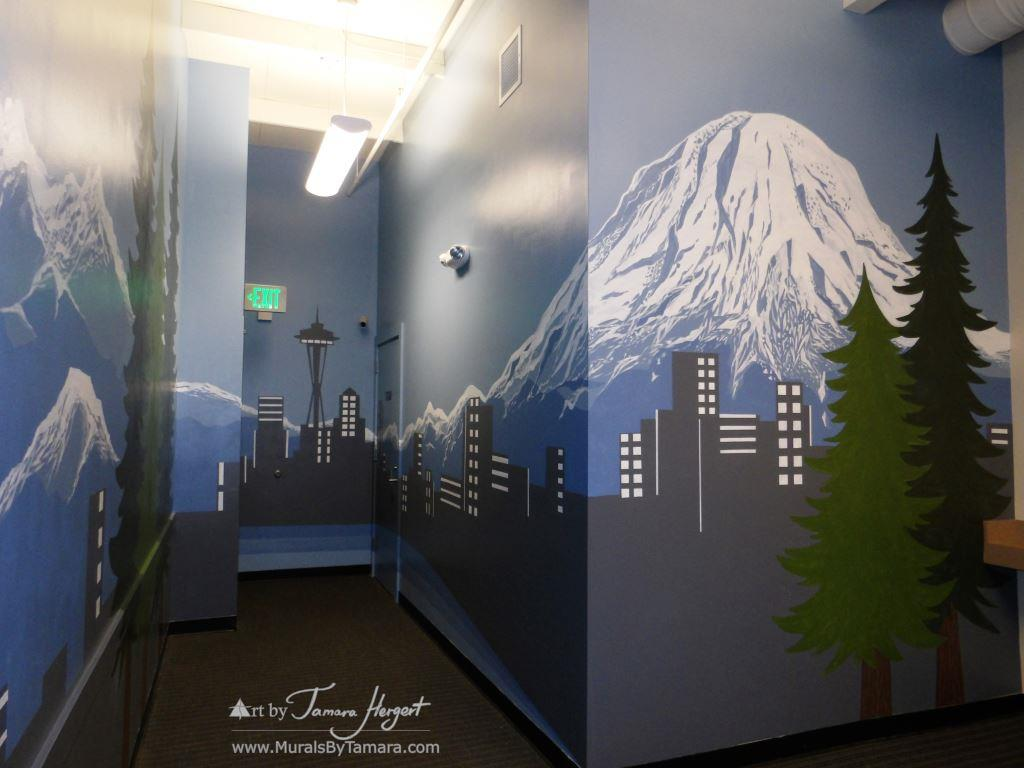Seattle skyline - Mount Rainier 16 - Bel-Red Auto license - mural by Tamara Hergert