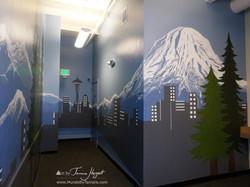 Seattle skyline - Mount Rainier 16 - Bel-Red Auto license - mural by Tamara Hergert