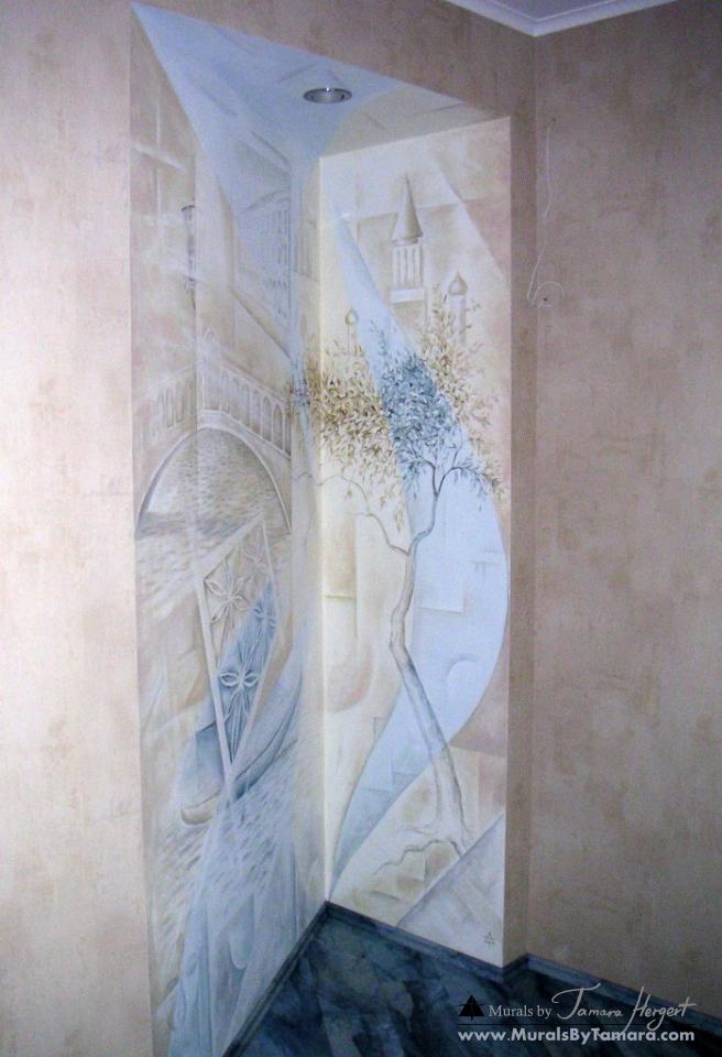 Romantic - esoteric - abstract - Venice street corner detail - mural by Tamara Hergert