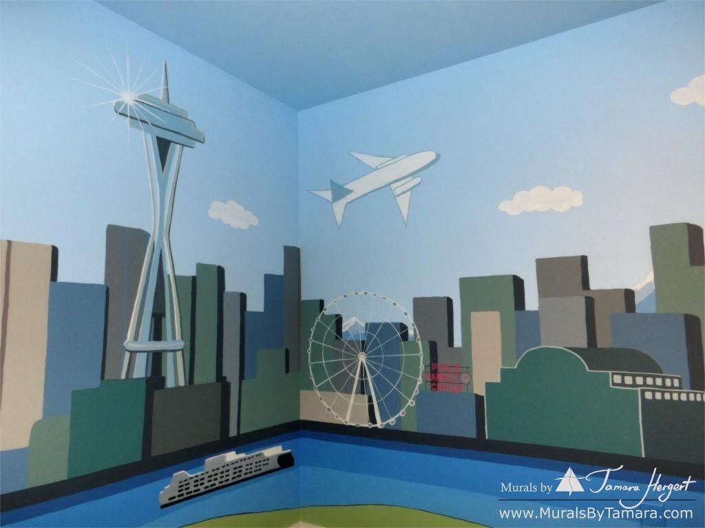 Downtown Seattle - mural by Tamara Hergert - Elliot Bay view close-up view