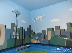 Downtown Seattle - mural by Tamara Hergert - Elliot Bay view close-up view