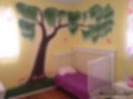 Willow tree, flowers and butterflies - girl's room mural by Tamara Hergert - mural artist seattle