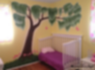 Willow tree, flowers and butterflies - girl's room mural by Tamara Hergert - mural artist seattle