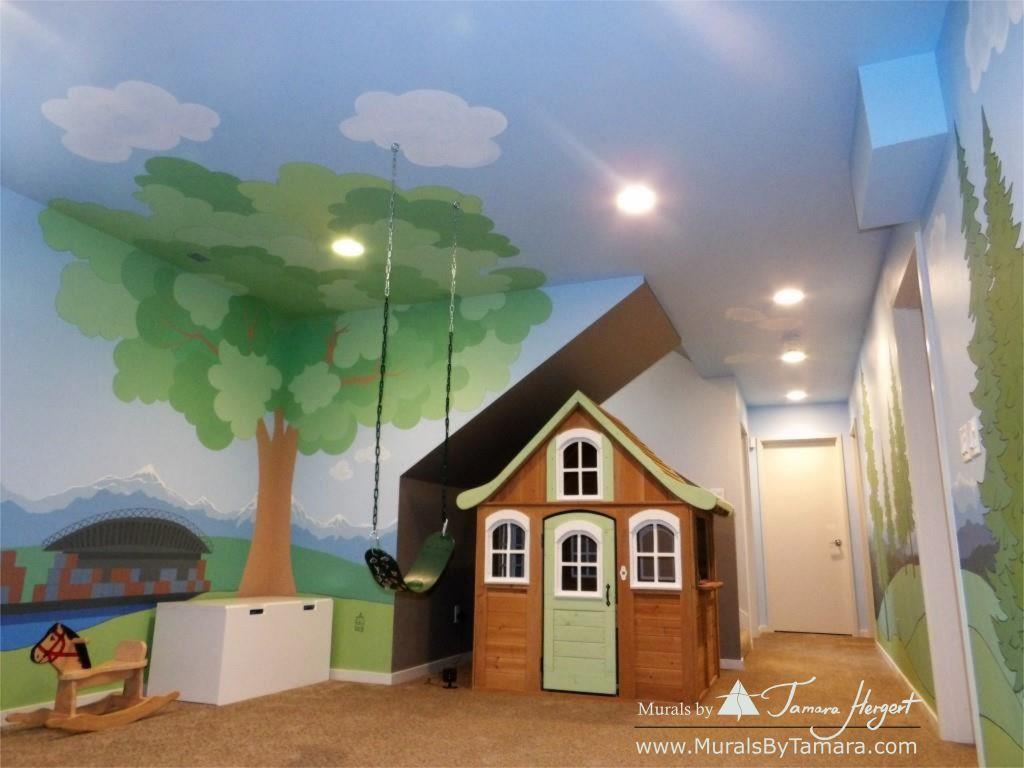 Cascade mountains - Tree in the corner - mural by Tamara Hergert - tree