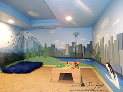 Mount Rainier - Downtown Seattle - mural by Tamara Hergert - front view