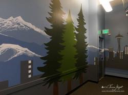 Seattle skyline - Evergreen trees - Bel-Red Auto license - mural by Tamara Hergert