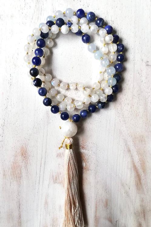 Amuleto Feminino, ELEMENTO ETERE, sodalite, acquamarina, pietra di luna
