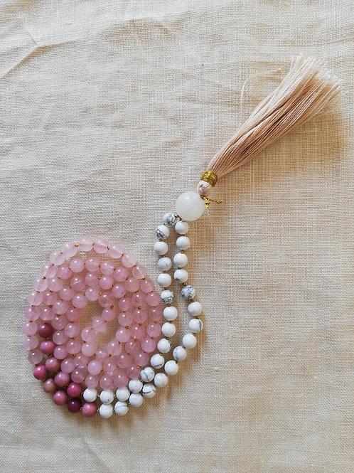 Amuleto di Howlite, Quarzo rosa e Rodonite