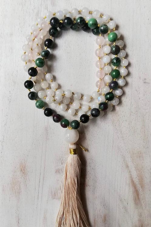 Amuleto Feminino, ELEMENTO ARIA, zoisite, quarzo rosa, pietra di l