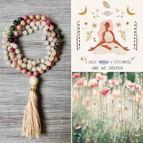 Amuleto Feminino, ELEMENTO ACQUA, rodonite, zoisite, pietra di luna