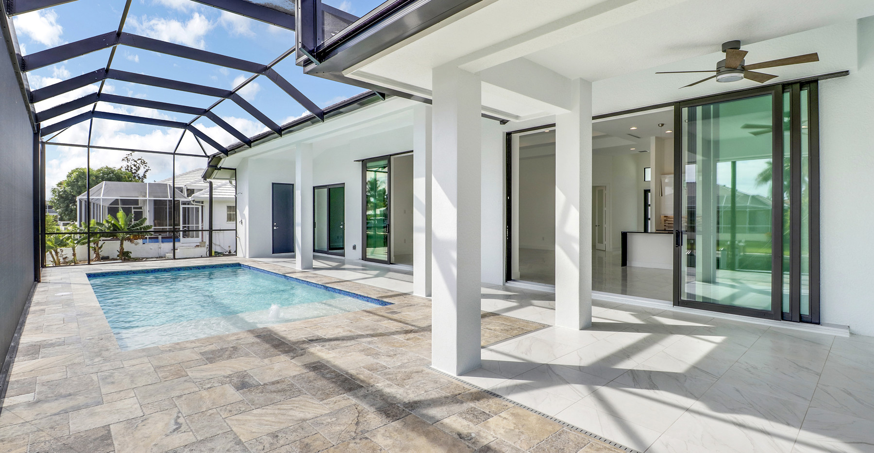 Jamaica Court home in Marco island Exterior covered pool deck