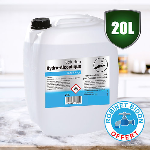 Solution Hydroalcoolique Liquide 20L - Soit 4.25 €/L