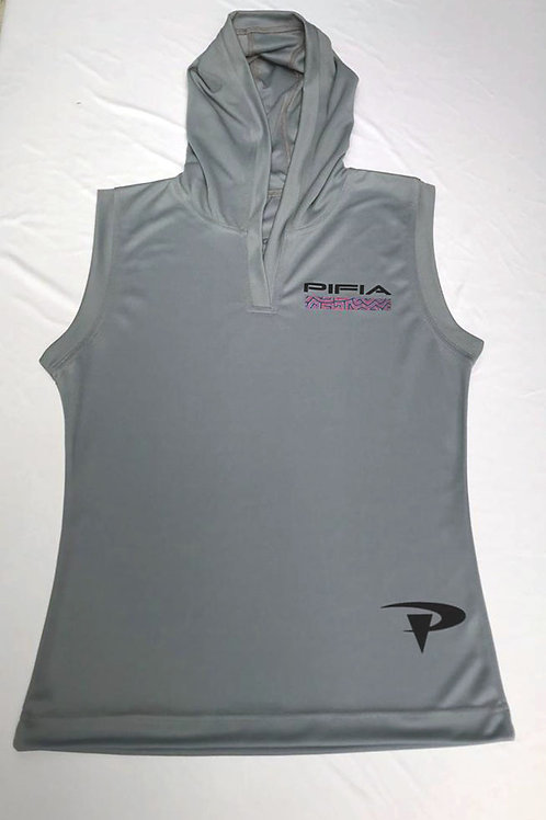 Ladies Sleeveless Hoodie top.