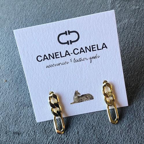 Flat link chain earrings