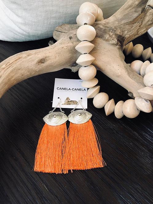 Mandarin fringed evil eye earrings