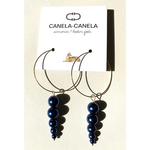 Blue glass pearls  hoop earrings