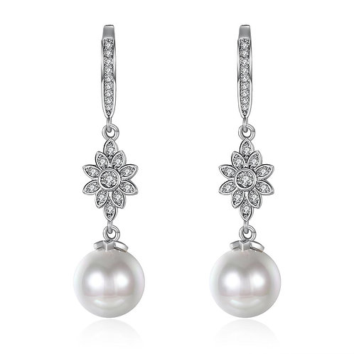 Freshwater Pearl Starburst Drop Earring in 18K White Gold Plated with