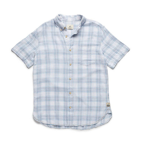 Boys Short Sleeve Cotton Slub Plaid Shirt