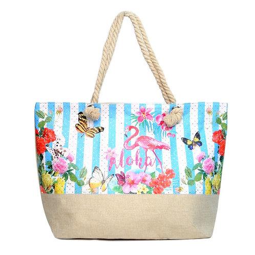 Summer Flower -Aloha- Rhinestone Tote Bag