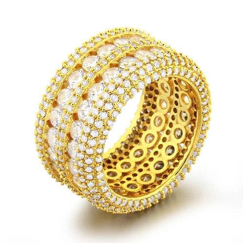 .925 Silver Ultimate Boss Bling Bling CZ Eternity Mens Ring in Gold