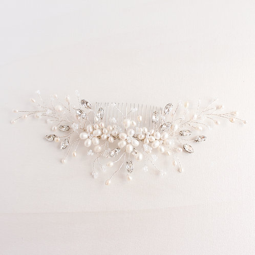 FLEUR bridal back headpiece Bridal pearl hair vine comb
