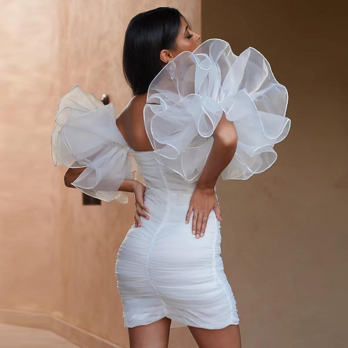 Mesh Patchwork Pleated White Bodycon Party Dress Ruffles Sleeve Short