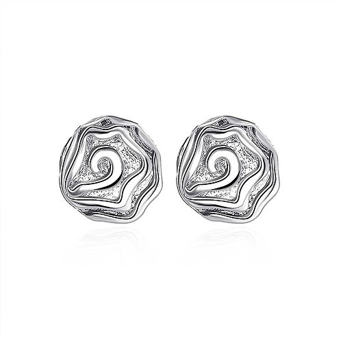 Coral Stud Earring in 18K White Gold Plated