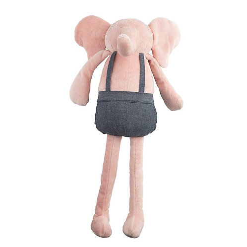 Pink Elephant Plush Huggie Doll in denim coveralls