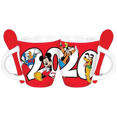 Dated 2020 Retro Mickey Goofy Donald Pluto Espresso Mug, Red White(Set of Four)