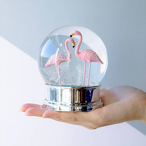Flamingo Glitter Snowglobe