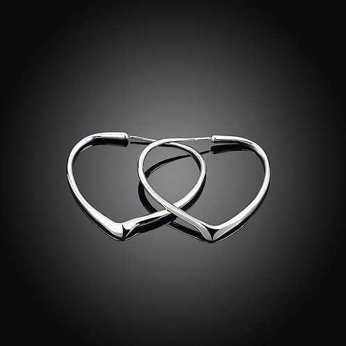 Heart Hoop Earring in 18K White Gold Plated